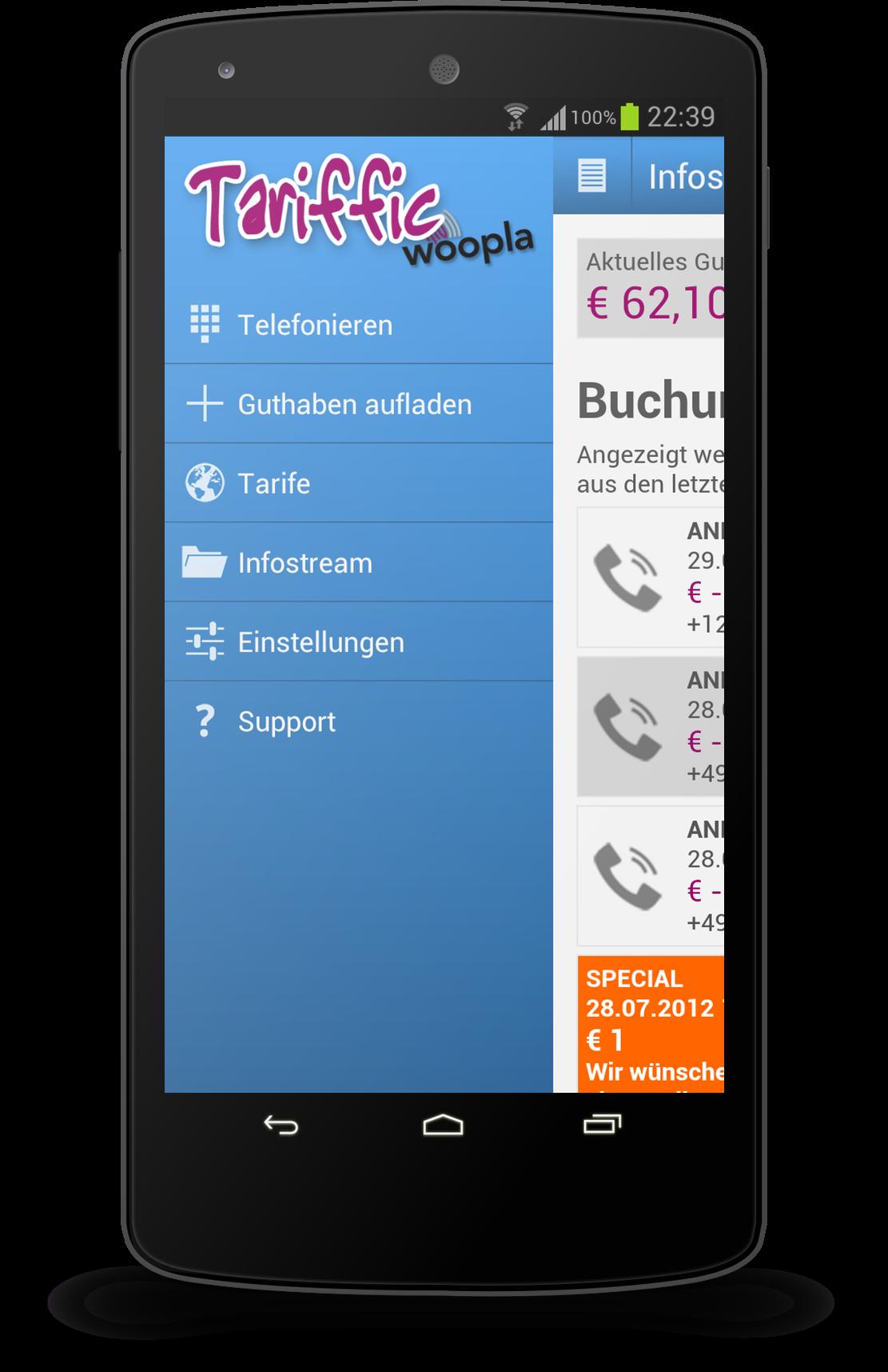 Tariffic für Android und iPhone - die App für günstige Auslandstelefonate vom Smartphone